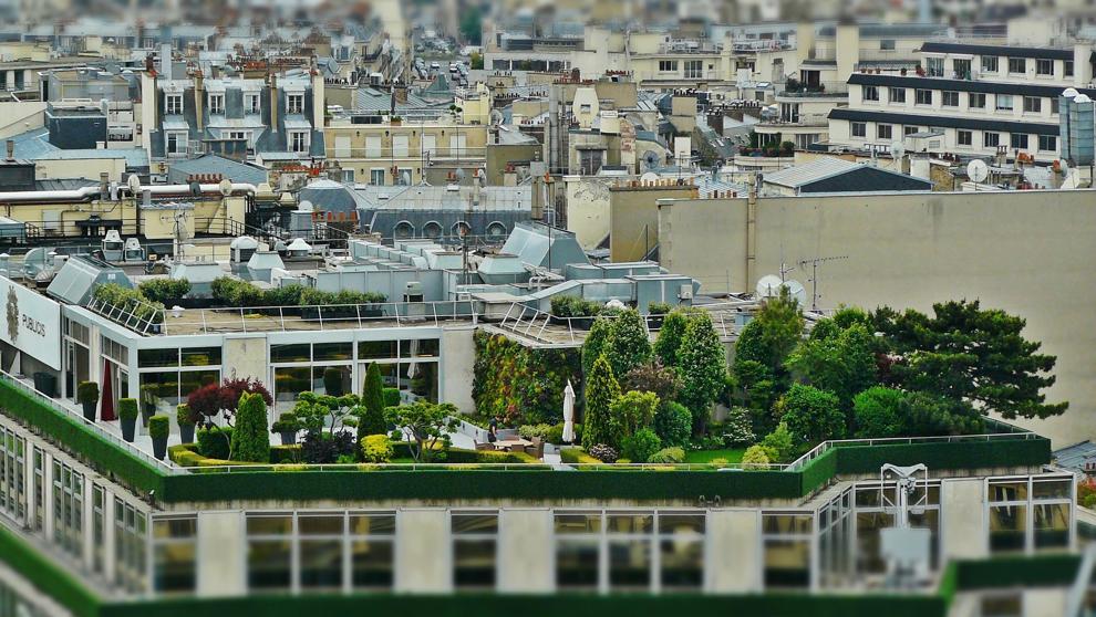 Jardins em um moderno edifício de Paris
